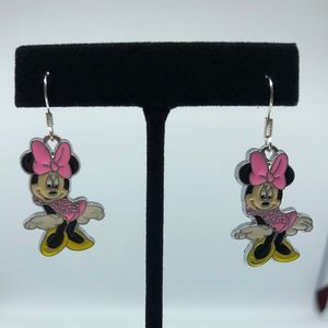 Playful Minnie Mouse Dangle Hook Earrings